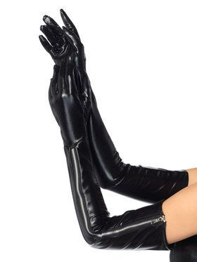 Long Black Wet Look Zipper Gloves