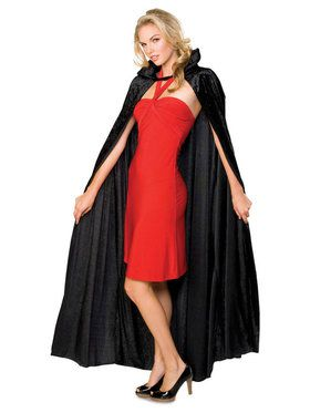 Crushed Black Velvet Long Cape
