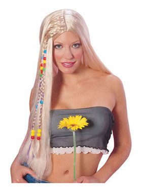 Long Blonde Hippie Wig Adult
