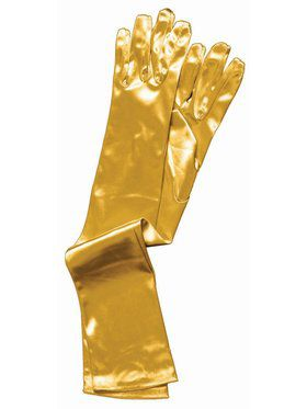Long Gold Accessory Satin Gloves