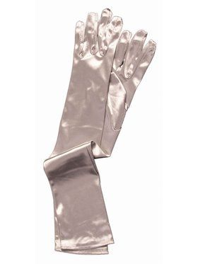 Long Silver Satin Gloves