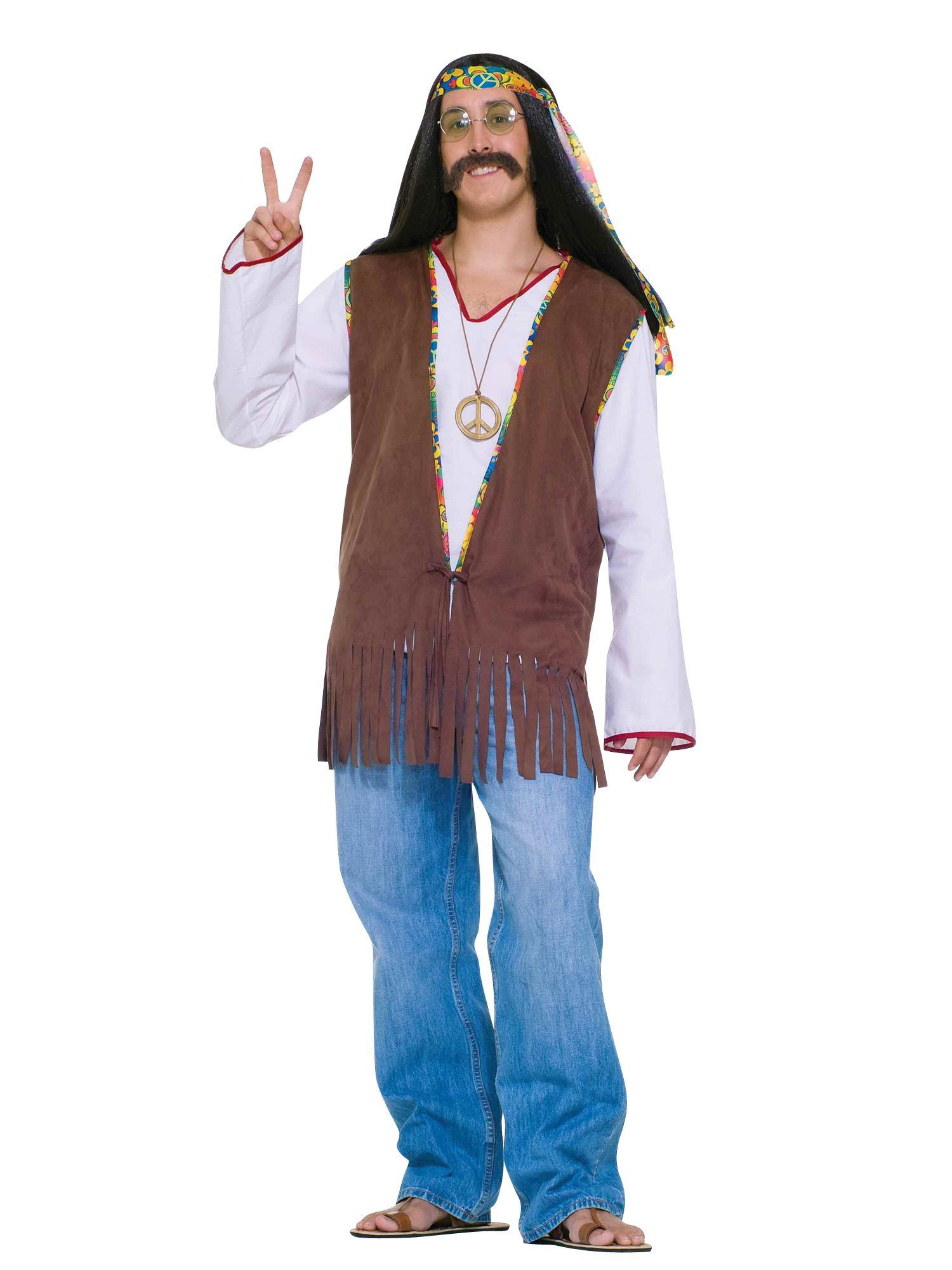 male hippie vest adult costume - costume accessories for 2018