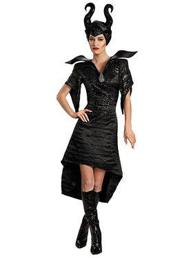 Maleficent Christening Black Gown Glam Deluxe Costume Adult