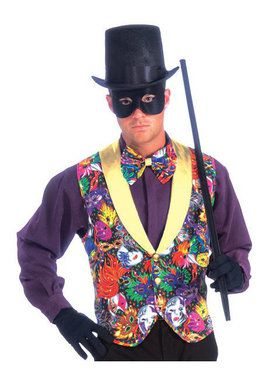 Mardi Gras Color Adult Vest and Bow Tie