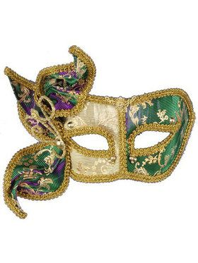 Mardi Gras Magic Color Changing Mask W Side Adornment