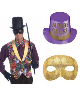 Mardi Gras Vest, Mask and Hat Bundle