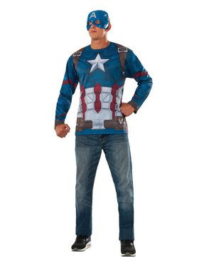 Mens Captain America Marvel Avengers Infinity War Long Sleeve Shirt