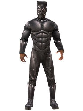 Marvel: Black Panther Movie Mens Deluxe Black Panther Muscle Chest Costume
