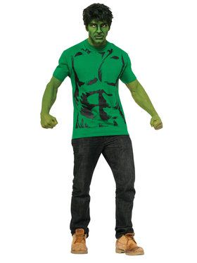 Adult Hulk Costume Top and Wig