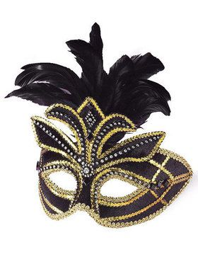 Mask - Venetian W/Feathers Black and Gold