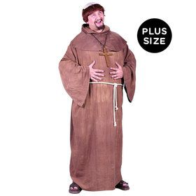 Medieval Monk Robe with Wig Adult Plus Costume