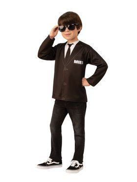 Men In Black for Unisex Top Costume for Kids