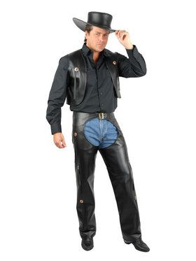 Men Plus Size Black Chaps & Vest Costume
