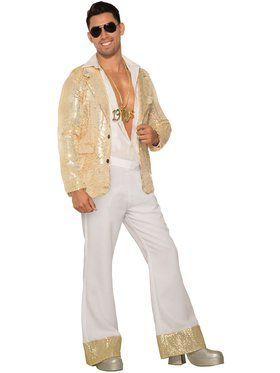 Men's White and Gold Disco Pants