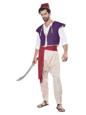 Red Aladdin Arabian Genie Vest Adult Costume