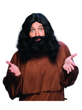 Men's Black Biblical Wig and Beard Set Adult