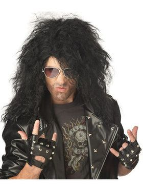 Men's Black Heavy Metal Rocker Wig