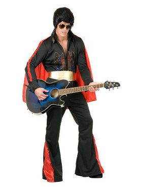 Mens Black Rhinestone Rock Star Costume