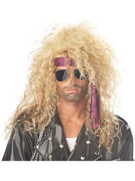 Mens Blonde Heavy Metal Rocker Wig