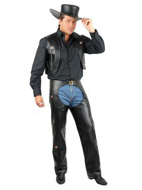 Men's Chaps & Vest - Leather Adult Black