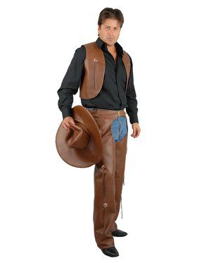 Men's Chaps & Vest - Leather Adult Brown
