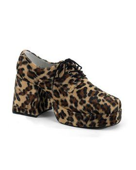 Mens Cheetah Fur Platform Shoe