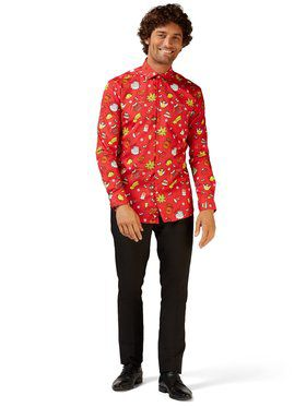 Opposuits Men's Christmas Doodle Red Christmas Shirt