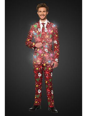 Opposuits Men's Christmas Red Icons Christmas Light Up Suit