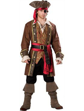 Mens Deluxe Captain Skullduggery Pirate Costume