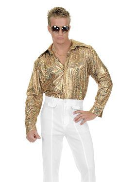 Mens Gold Disco Shirt