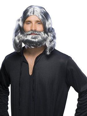 Mens Grey Biblical Wig and Beard Set for Halloween