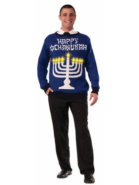 Mens Light Up Chanukah Sweater for Halloween