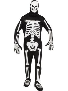 Mens Light Up LED Bony Skeleton Costume