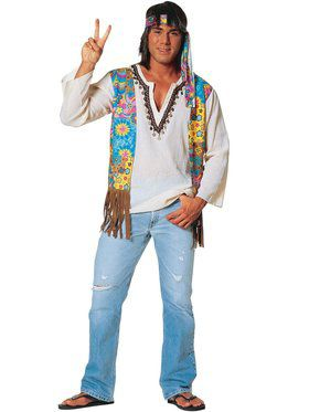Mens Plus Hippie Costume