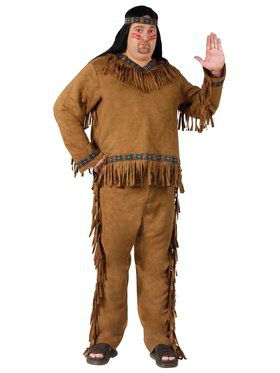 Mens Plus Native American Male Costume