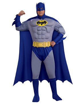 Mens Plus Size Deluxe Muscle Chest Batman Costume