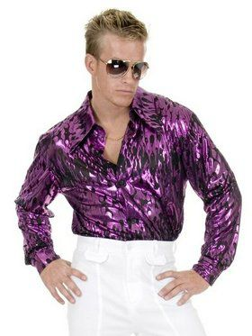 Mens Plus Size Disco Purple Flame Shirt
