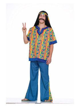 Mens Plus Size Hippie Dude Costume