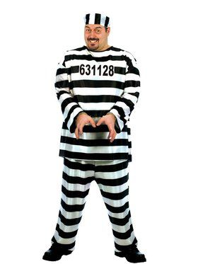 Mens Plus Size Jailbird Costume