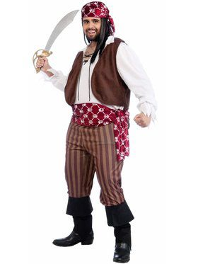 Mens Plus Size Shipwrecked Pirate Costume