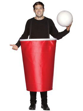 Mens Red Beer Pong Cup and Ball Costume