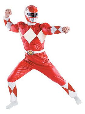 Mens Red Muscle Chest Power Ranger Costume Xl