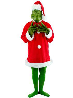 Men's Santa Grinch Plus Size Costume with Mask