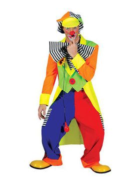 Mens Spanky Stripes Clown Costume