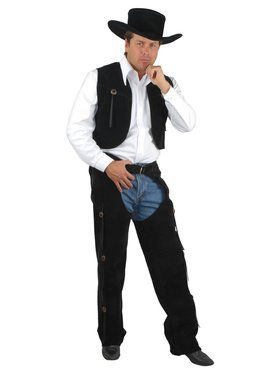Men's Suede Chaps & Vest Adult Costume