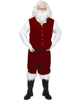Men's X-Large Velvet Santa Vest with Buttons