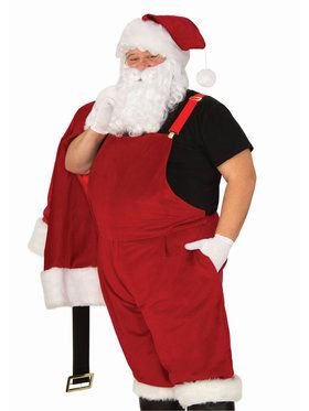 Mens XL Velvet Santa Suit with Overalls