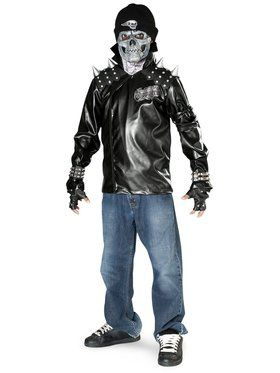 Metal Skull Biker Teen Costume