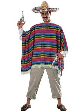Mexican Hombre Serape and Sombrero Costume for Men