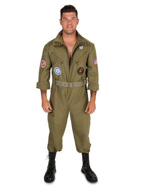 Military Fighter Pilot Jumpsuit Costume For Adults